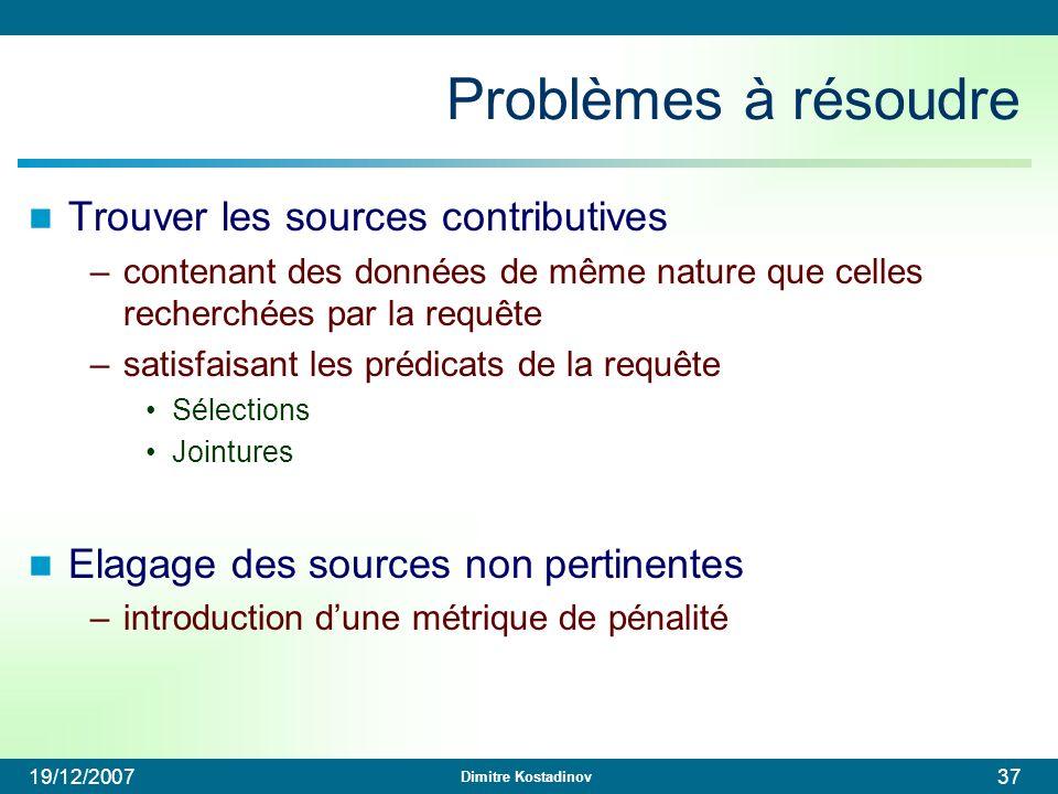 Dimitre Kostadinov 19/12/200737 Problèmes à résoudre Trouver les sources contributives –contenant des données de même nature que celles recherchées pa