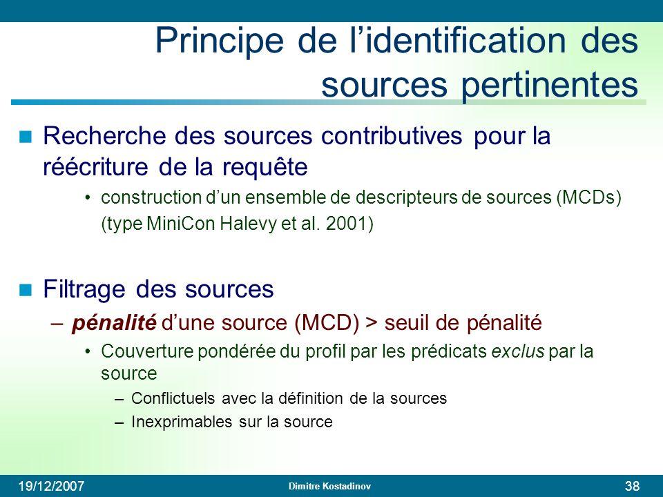 Dimitre Kostadinov 19/12/200738 Principe de lidentification des sources pertinentes Recherche des sources contributives pour la réécriture de la requê