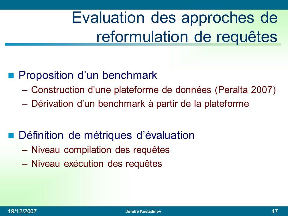 Dimitre Kostadinov 19/12/200747 Evaluation des approches de reformulation de requêtes Proposition dun benchmark –Construction dune plateforme de donné