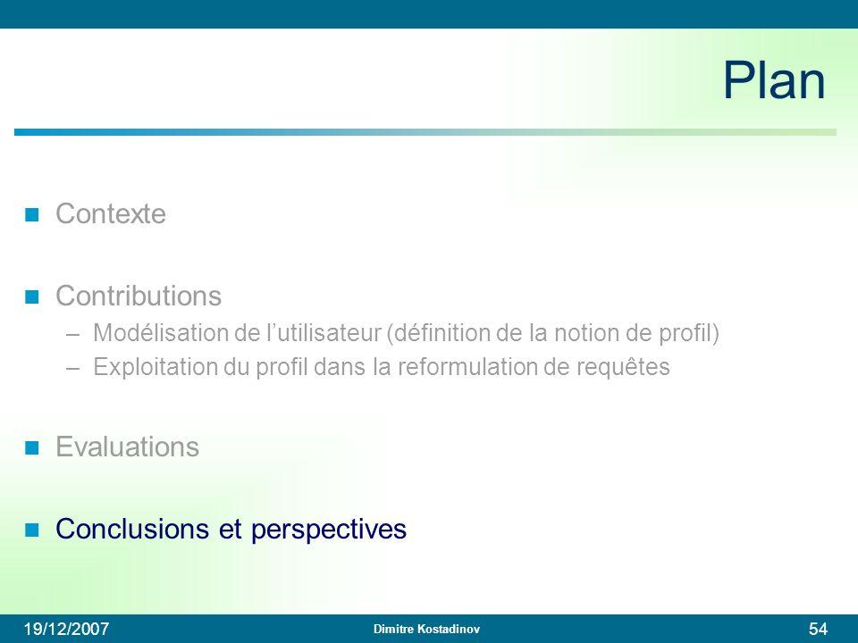 Dimitre Kostadinov 19/12/200754 Plan Contexte Contributions –Modélisation de lutilisateur (définition de la notion de profil) –Exploitation du profil