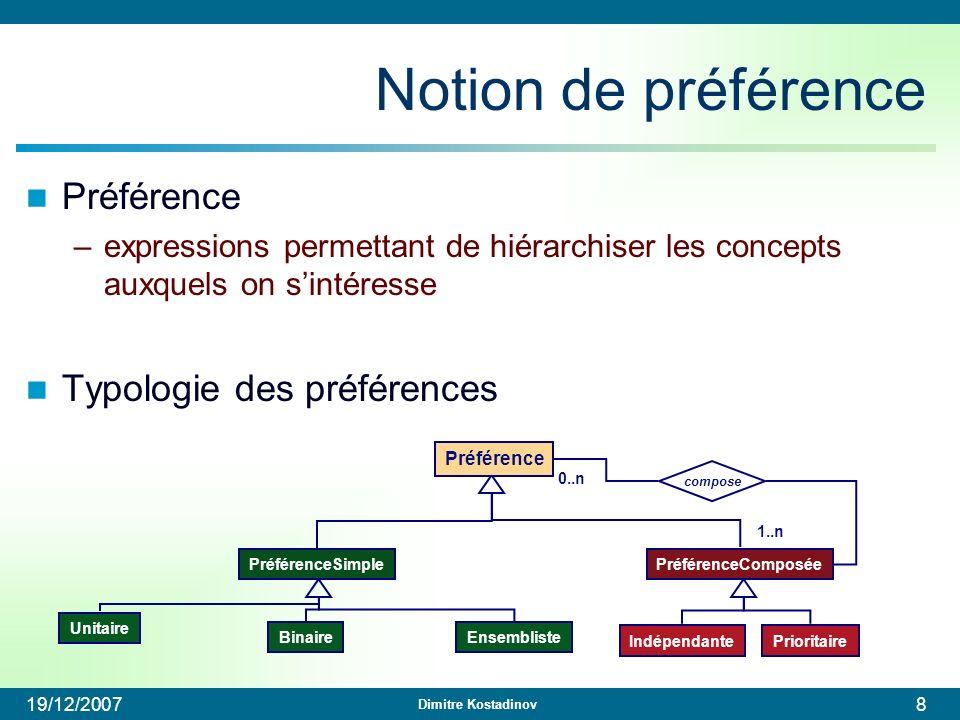 Dimitre Kostadinov 19/12/20079 Exemples Préférences simples –Unitaire : poids Film.genre=action 0.8 –binaire : >> action >> drame –Ensembliste : LOWEST LOWEST(prix) Préférences Composées –indépendante (action >> drame) (anglais >> français) –prioritaire & (action >> drame) & (anglais >> français)