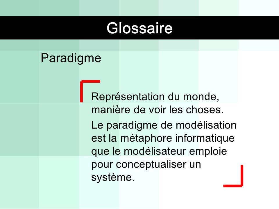 Paradigme Représentation du monde, manière de voir les choses. Le paradigme de modélisation est la métaphore informatique que le modélisateur emploie