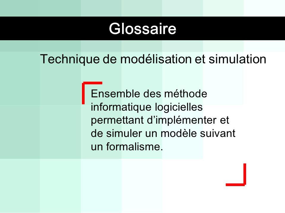 Technique de modélisation et simulation Ensemble des méthode informatique logicielles permettant dimplémenter et de simuler un modèle suivant un forma