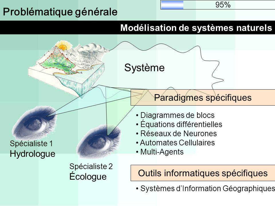 Problématique générale Modélisation de systèmes naturels 95% Système Spécialiste 2 Écologue Spécialiste 1 Hydrologue Paradigmes spécifiques Outils inf