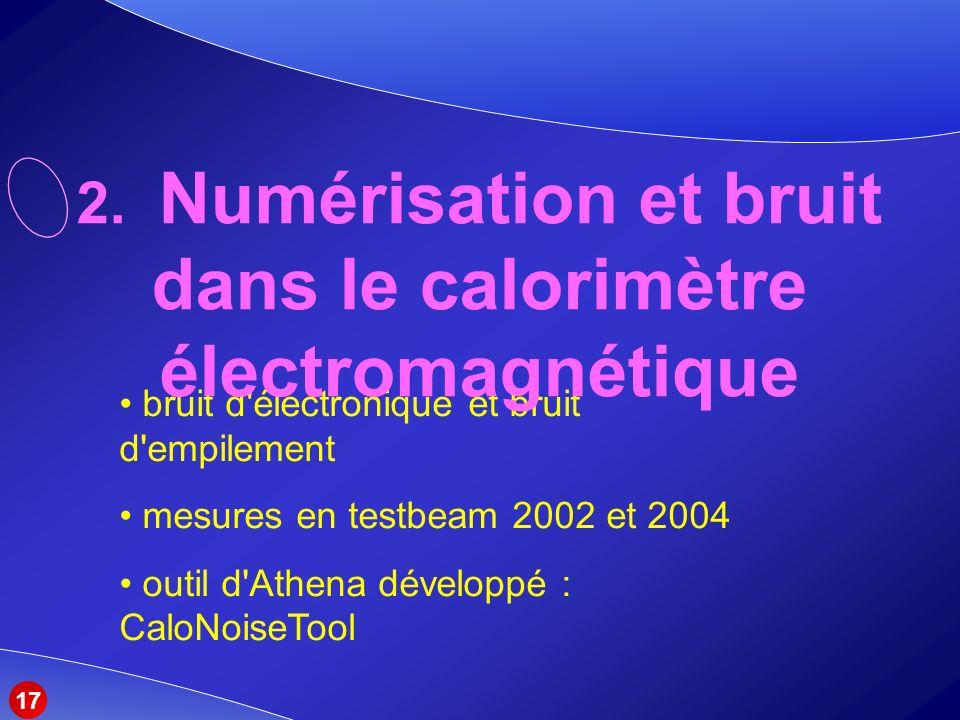 bruit d électronique et bruit d empilement mesures en testbeam 2002 et 2004 outil d Athena développé : CaloNoiseTool 2.