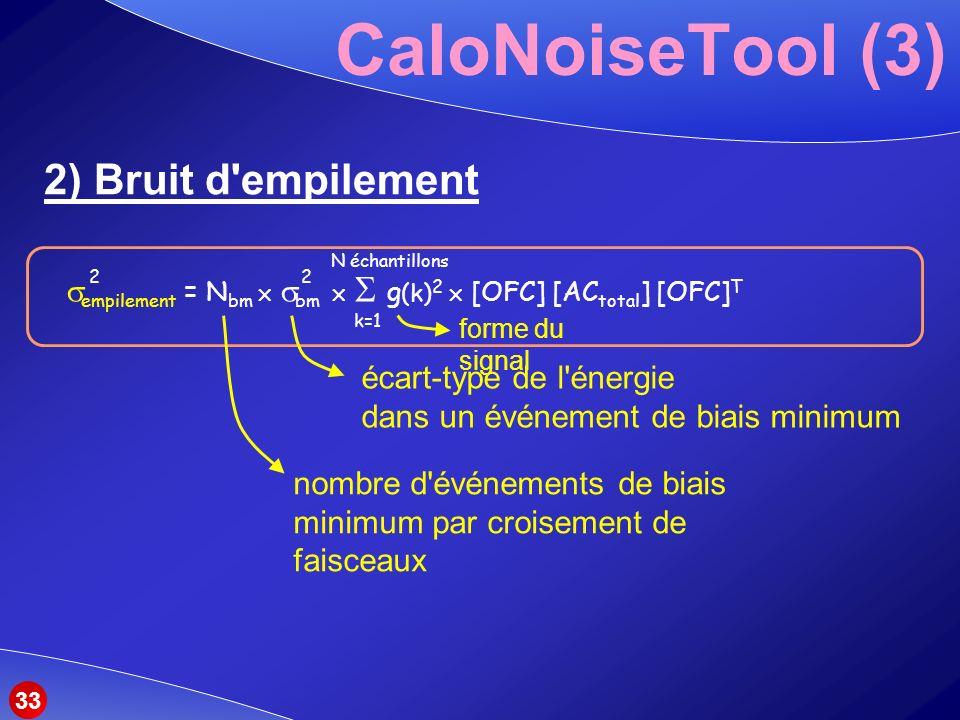 CaloNoiseTool (3) 2) Bruit d empilement empilement = N bm bm g (k) 2 [OFC] [AC total ] [OFC] T 22 k=1 N échantillons nombre d événements de biais minimum par croisement de faisceaux écart-type de l énergie dans un événement de biais minimum forme du signal 33
