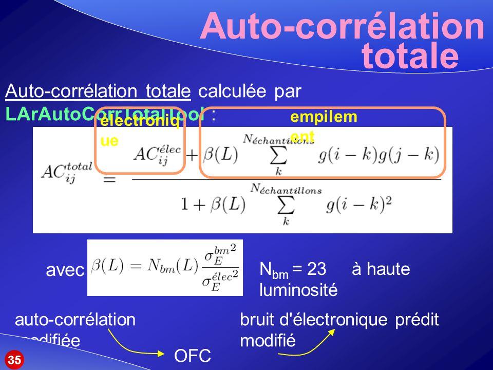 Auto-corrélation Auto-corrélation totale calculée par LArAutoCorrTotalTool : totale électroniq ue empilem ent N bm = 23 à haute luminosité avec auto-corrélation modifiée OFC modifiés bruit d électronique prédit modifié 35