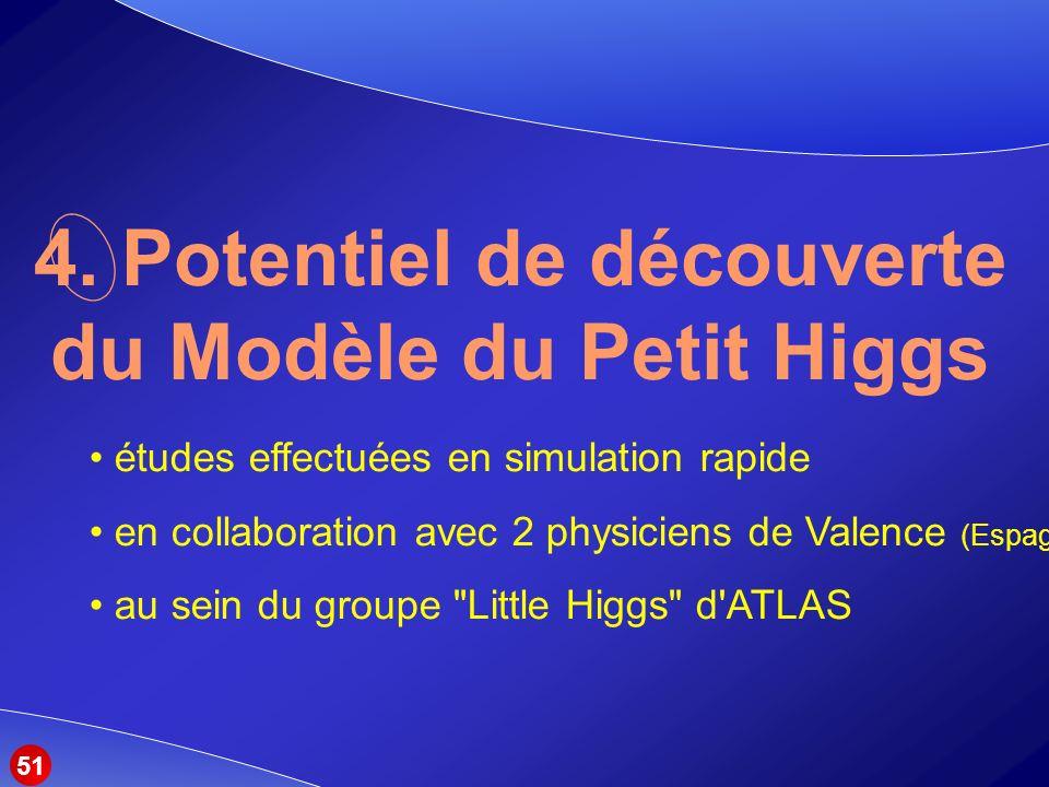 études effectuées en simulation rapide en collaboration avec 2 physiciens de Valence (Espagne) au sein du groupe Little Higgs d ATLAS 4.