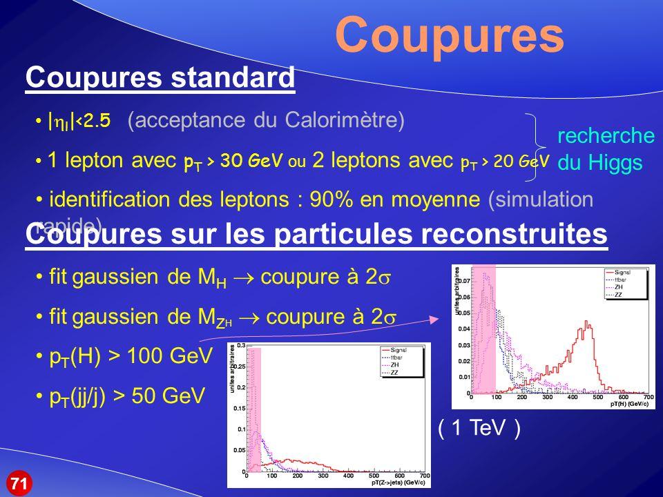 Coupures Coupures standard | l |<2.5 (acceptance du Calorimètre) 1 lepton avec p T > 30 GeV ou 2 leptons avec p T > 20 GeV identification des leptons : 90% en moyenne (simulation rapide) recherche du Higgs Coupures sur les particules reconstruites fit gaussien de M H coupure à 2 fit gaussien de M Z H coupure à 2 p T (H) > 100 GeV p T (jj/j) > 50 GeV ( 1 TeV ) 71