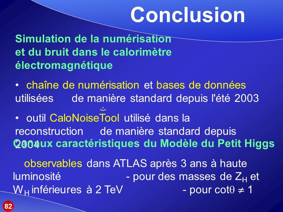 Simulation de la numérisation et du bruit dans le calorimètre électromagnétique chaîne de numérisation et bases de données utilisées de manière standard depuis l été 2003 outil CaloNoiseTool utilisé dans la reconstruction de manière standard depuis 2004 Conclusion Canaux caractéristiques du Modèle du Petit Higgs observables dans ATLAS après 3 ans à haute luminosité - pour des masses de Z H et W H inférieures à 2 TeV - pour cot 1 -) 82