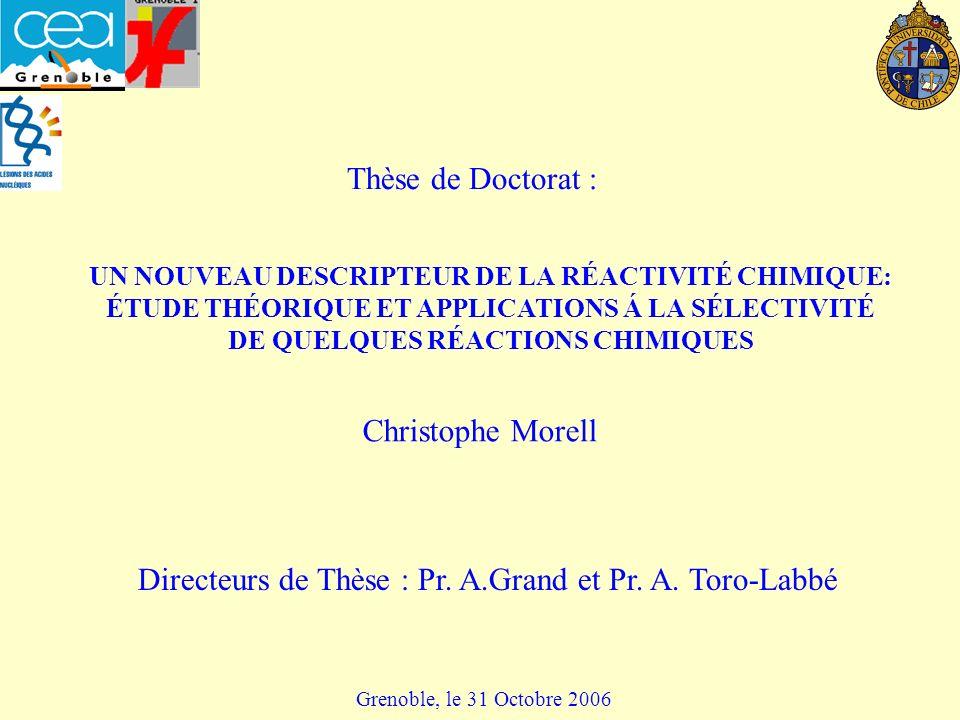 UN NOUVEAU DESCRIPTEUR DE LA RÉACTIVITÉ CHIMIQUE: ÉTUDE THÉORIQUE ET APPLICATIONS Á LA SÉLECTIVITÉ DE QUELQUES RÉACTIONS CHIMIQUES Christophe Morell Grenoble, le 31 Octobre 2006 Thèse de Doctorat : Directeurs de Thèse : Pr.