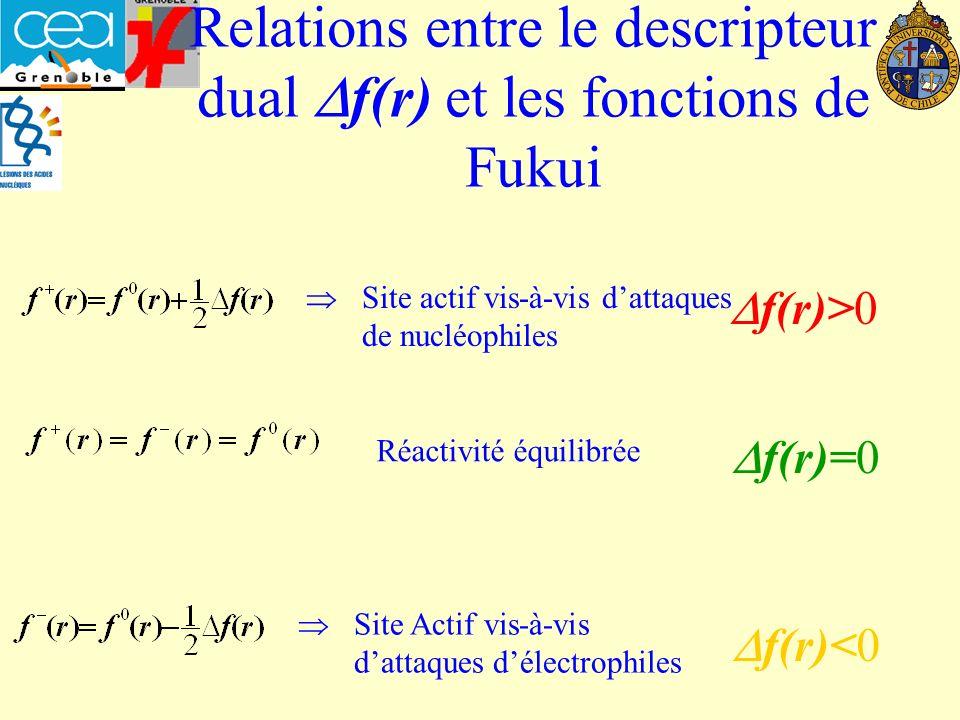 Relations entre le descripteur dual f(r) et les fonctions de Fukui f(r)>0 Site actif vis-à-vis dattaques de nucléophiles Site Actif vis-à-vis dattaques délectrophiles f(r)<0 f(r)=0 Réactivité équilibrée