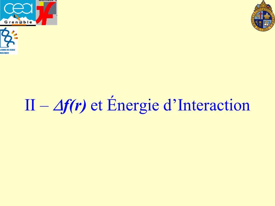 II – f(r) et Énergie dInteraction