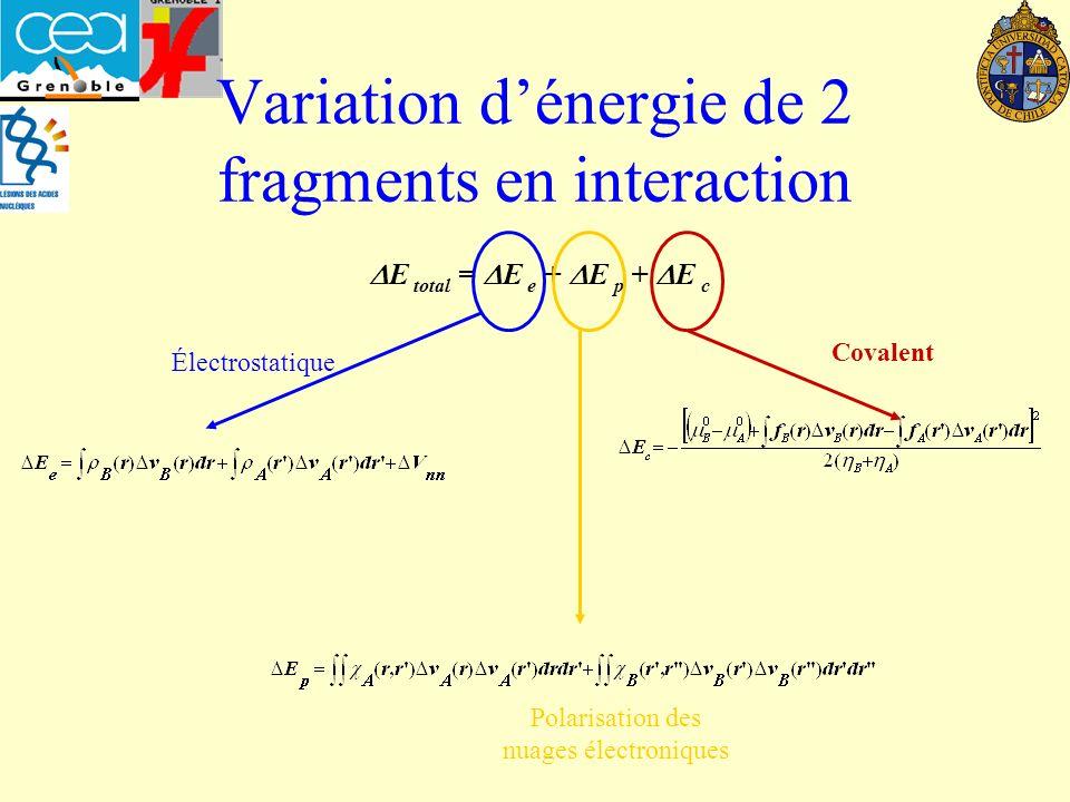 Variation dénergie de 2 fragments en interaction E total = E e + E p + E c Électrostatique Polarisation des nuages électroniques Covalent
