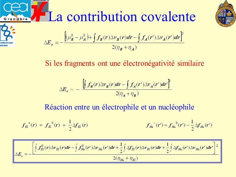 La contribution covalente Si les fragments ont une électronégativité similaire Réaction entre un électrophile et un nucléophile