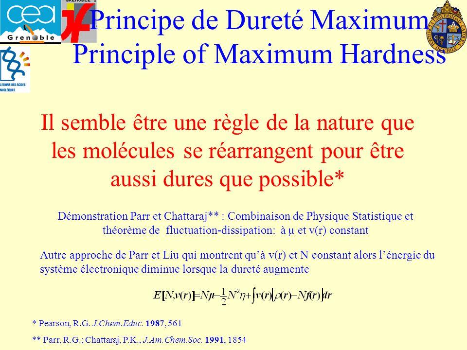 Principe de Dureté Maximum Principle of Maximum Hardness Il semble être une règle de la nature que les molécules se réarrangent pour être aussi dures que possible* Démonstration Parr et Chattaraj** : Combinaison de Physique Statistique et théorème de fluctuation-dissipation: à µ et v(r) constant Autre approche de Parr et Liu qui montrent quà v(r) et N constant alors lénergie du système électronique diminue lorsque la dureté augmente * Pearson, R.G.