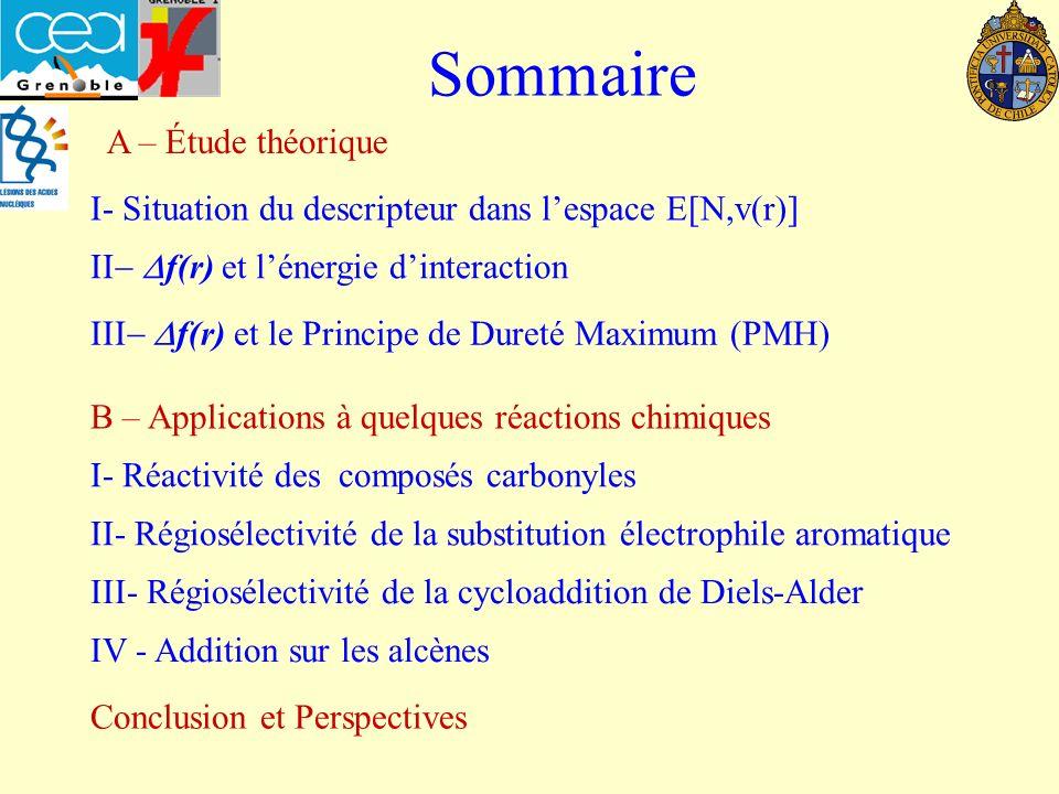 Sommaire I- Situation du descripteur dans lespace E[N,v(r)] f(r) et le Principe de Dureté Maximum (PMH) II- Régiosélectivité de la substitution électrophile aromatique III- Régiosélectivité de la cycloaddition de Diels-Alder I- Réactivité des composés carbonyles B – Applications à quelques réactions chimiques f(r) et lénergie dinteraction IV - Addition sur les alcènes Conclusion et Perspectives A – Étude théorique