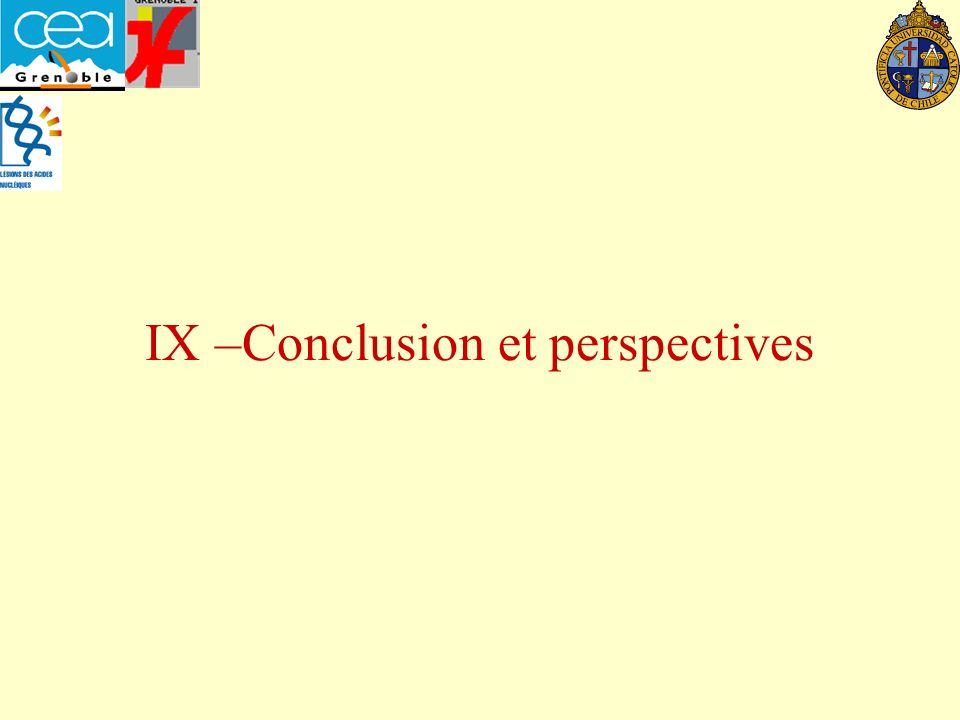 IX –Conclusion et perspectives