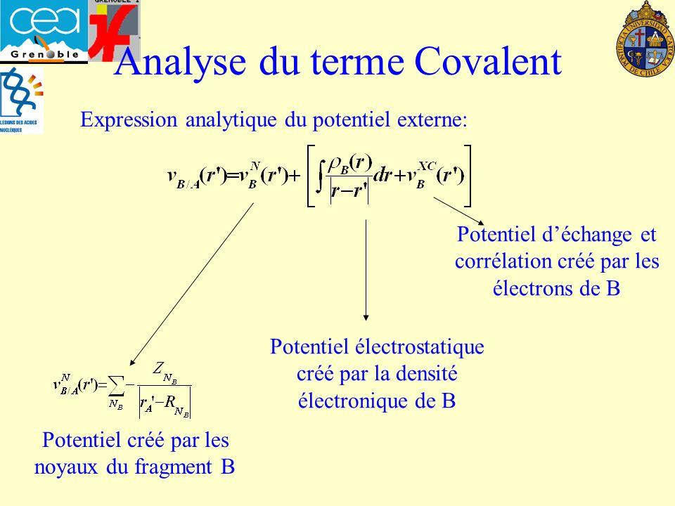 Analyse du terme Covalent Potentiel créé par les noyaux du fragment B Potentiel électrostatique créé par la densité électronique de B Potentiel déchange et corrélation créé par les électrons de B Expression analytique du potentiel externe: