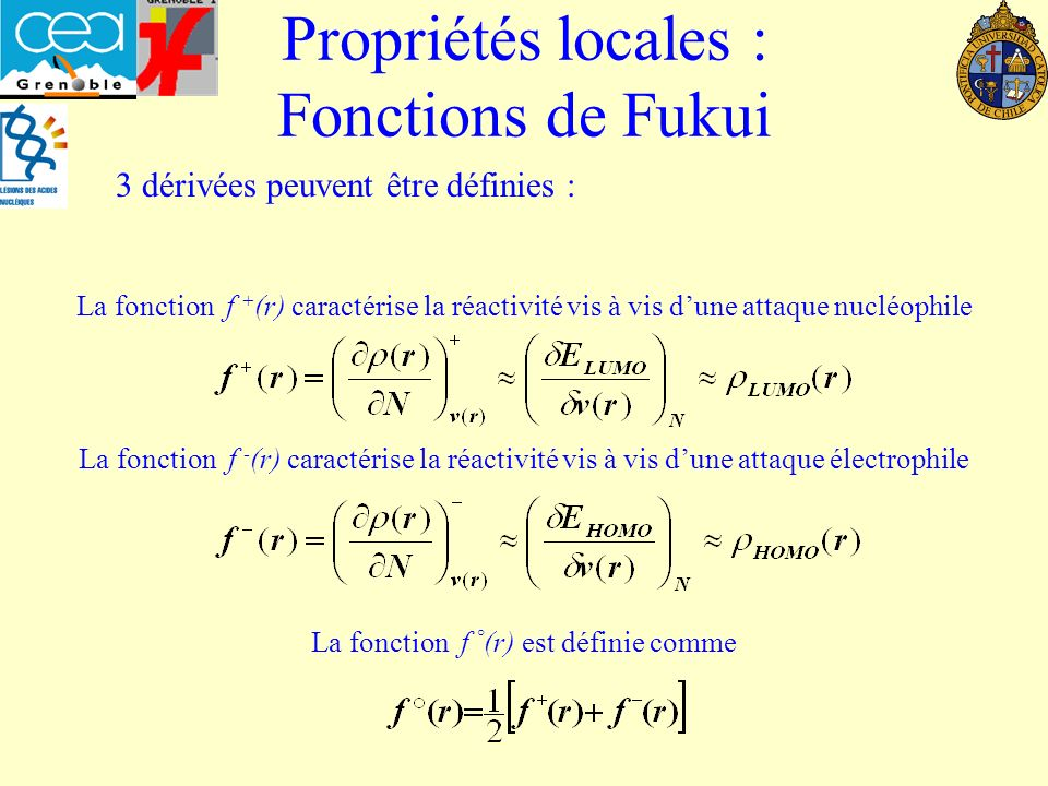 Propriété locale: Descripteur h(r) ou dual HOMO v 1 (r) HOMO LUMO E 1 v 2 (r) 2