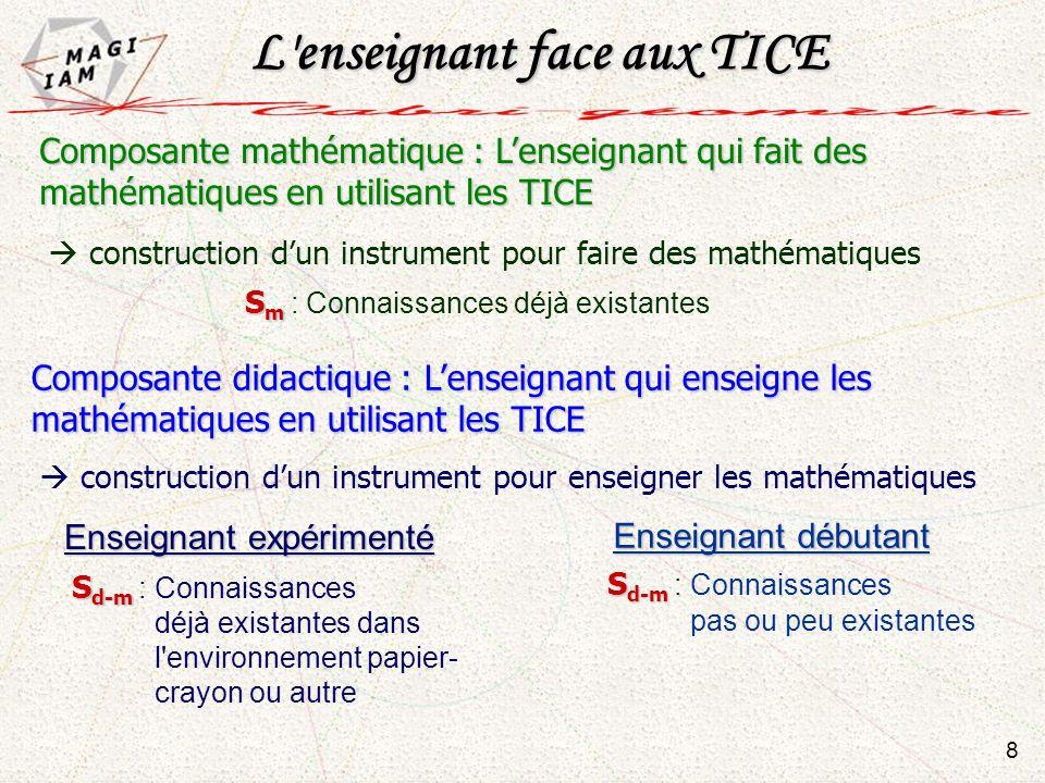 Composante mathématique : Lenseignant qui fait des mathématiques en utilisant les TICE Composante didactique : Lenseignant qui enseigne les mathématiq