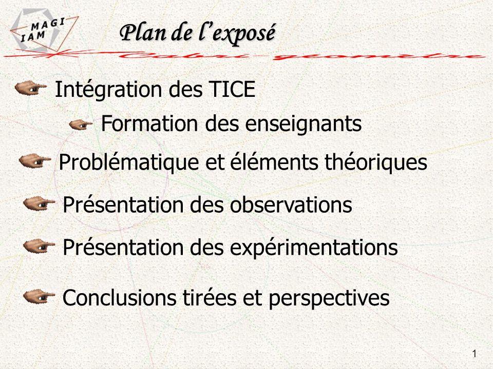 Plan de lexposé Plan de lexposé Intégration des TICE Formation des enseignants Présentation des observations Conclusions tirées et perspectives Présen