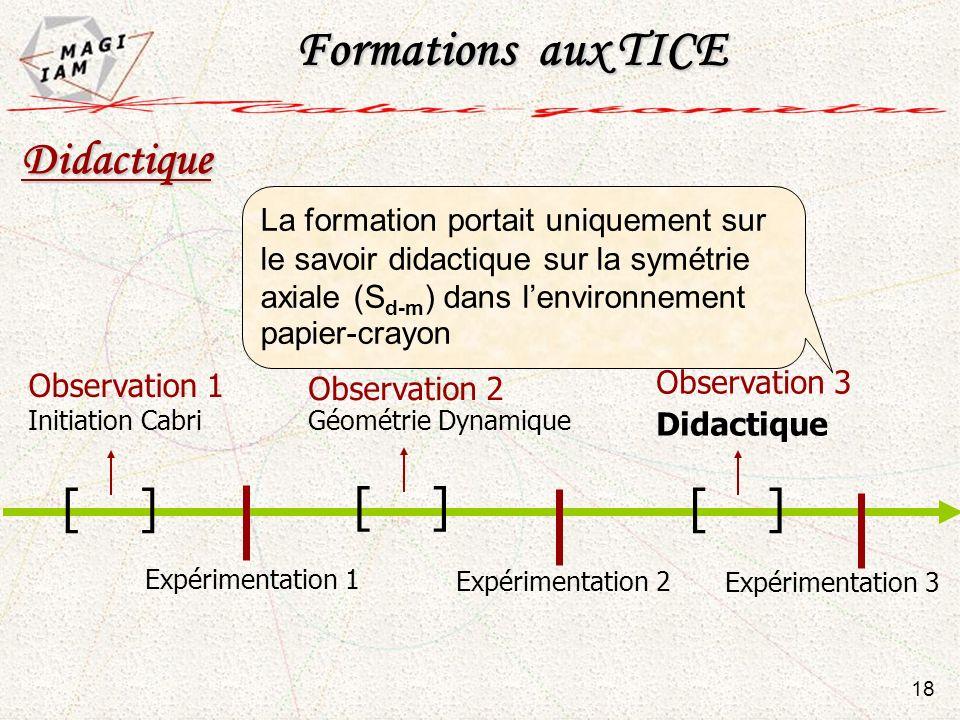 Observation 1 Initiation Cabri Observation 3 Didactique Expérimentation 2 Expérimentation 3 Expérimentation 1 [ ] 18 Didactique Observation 2 Géométri
