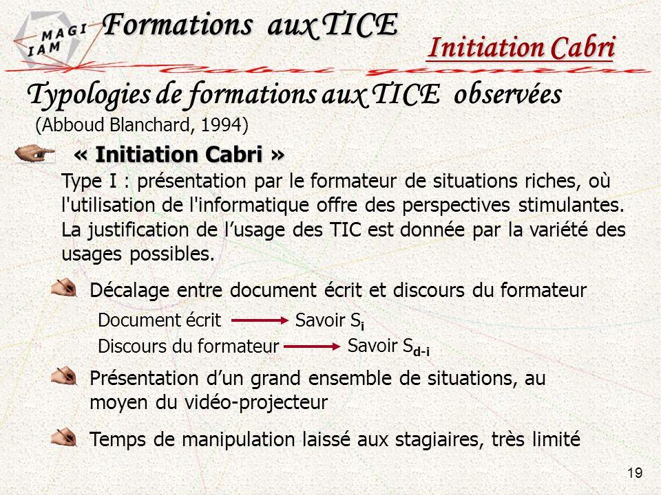 Typologies de formations aux TICE observées « Initiation Cabri » Type I : présentation par le formateur de situations riches, où l'utilisation de l'in