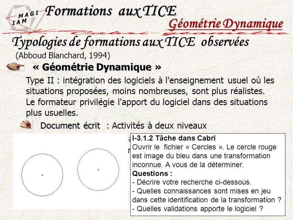« Géométrie Dynamique » Type II : intégration des logiciels à l'enseignement usuel où les situations proposées, moins nombreuses, sont plus réalistes.