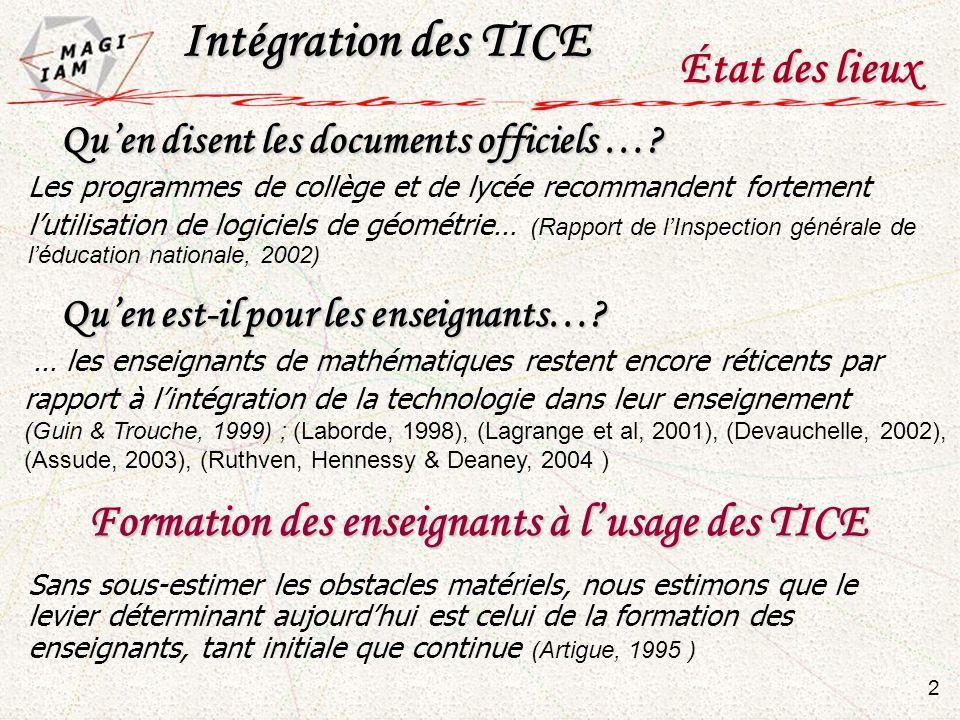 Intégration des TICE État des lieux 2 Quen disent les documents officiels …? Quen disent les documents officiels …? Les programmes de collège et de ly