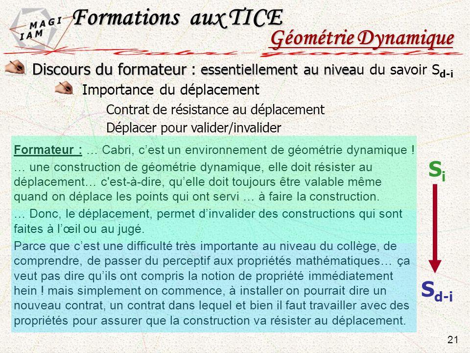 Formateur : … Cabri, cest un environnement de géométrie dynamique ! … une construction de géométrie dynamique, elle doit résister au déplacement… c'es