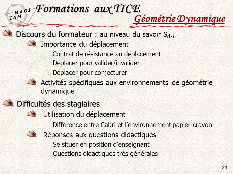 Discours du formateur Discours du formateur : au niveau du savoir S d-i 21 Formations aux TICE Géométrie Dynamique Importance du déplacement Contrat d
