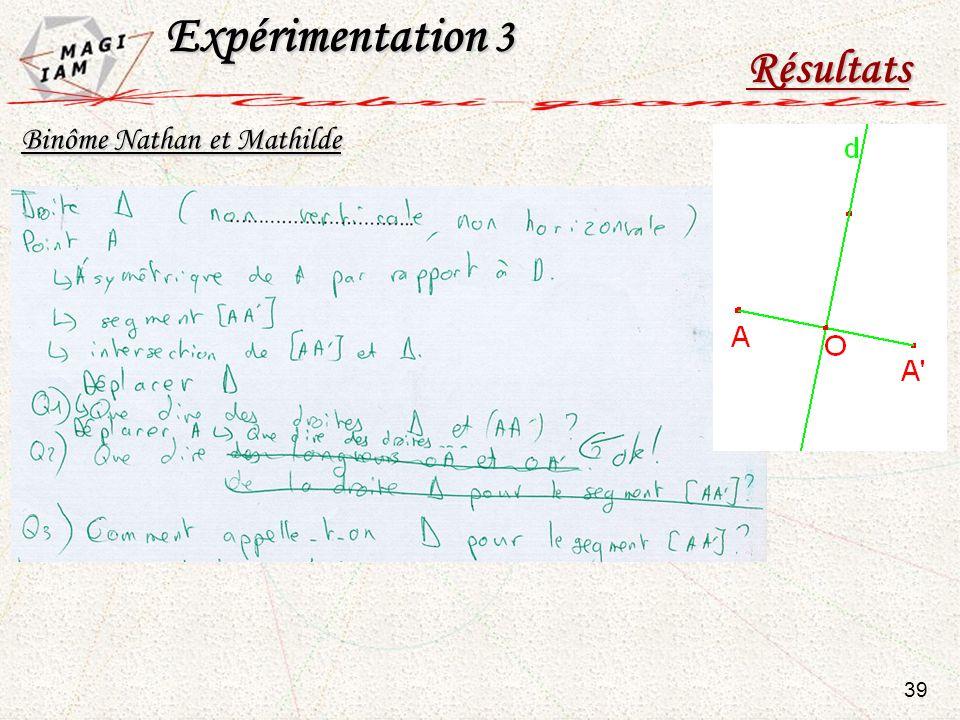 Expérimentation 3 Résultats 39 Binôme Nathan et Mathilde