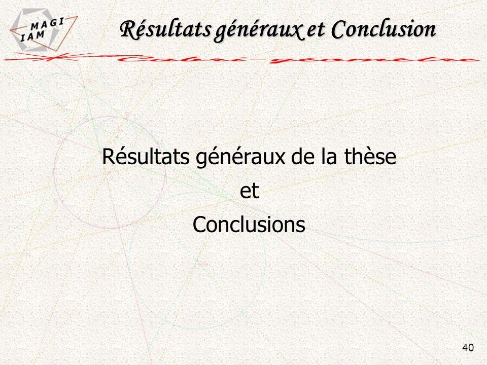 Résultats généraux de la thèse et Conclusions Résultats généraux et Conclusion 40