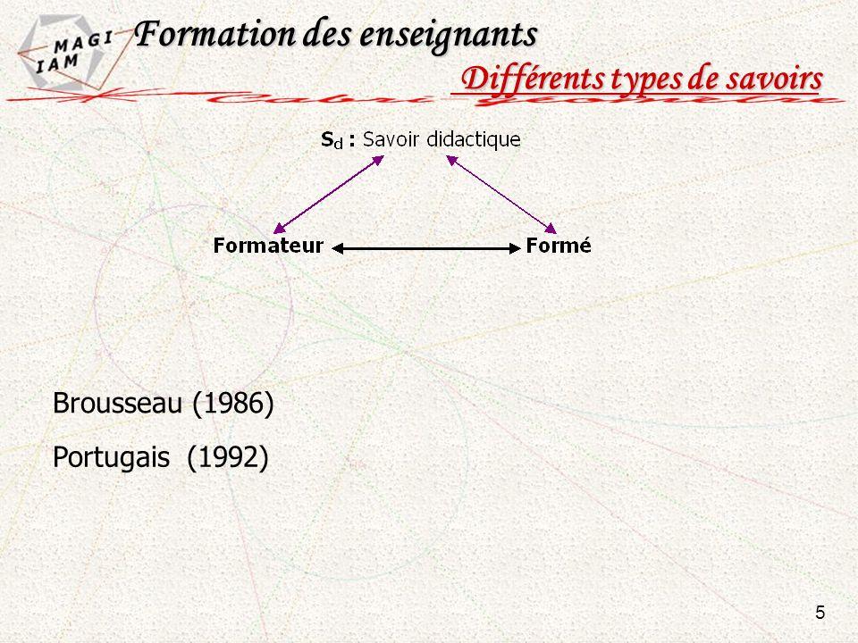 5 Formation des enseignants Formation des enseignants Différents types de savoirs Différents types de savoirs Portugais (1992) Brousseau (1986)