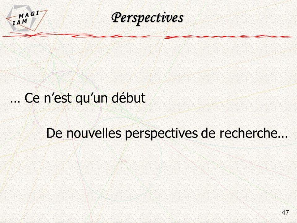 De nouvelles perspectives de recherche… Perspectives … Ce nest quun début 47