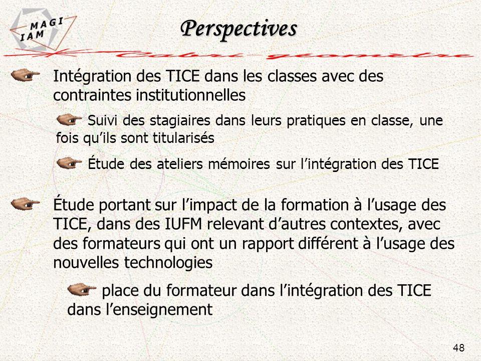 Intégration des TICE dans les classes avec des contraintes institutionnelles Étude des ateliers mémoires sur lintégration des TICE Suivi des stagiaire