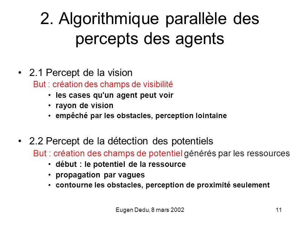 Eugen Dedu, 8 mars 200211 2. Algorithmique parallèle des percepts des agents 2.1 Percept de la vision But : création des champs de visibilité les case
