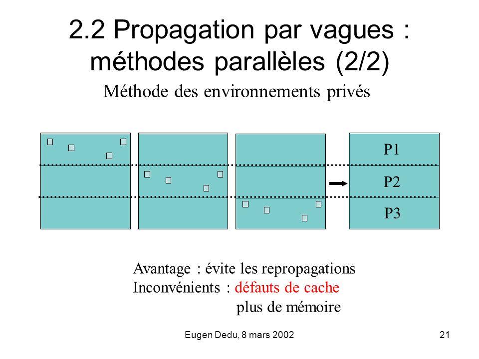 Eugen Dedu, 8 mars 200221 2.2 Propagation par vagues : méthodes parallèles (2/2) Avantage : évite les repropagations Inconvénients : défauts de cache