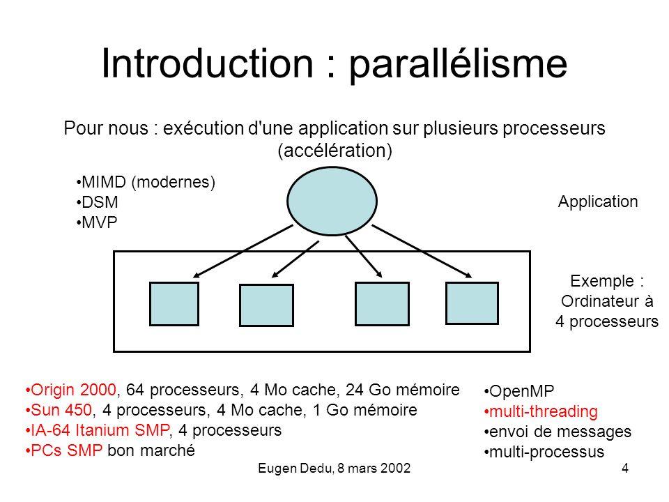 Eugen Dedu, 8 mars 20024 Introduction : parallélisme Pour nous : exécution d'une application sur plusieurs processeurs (accélération) Application Exem