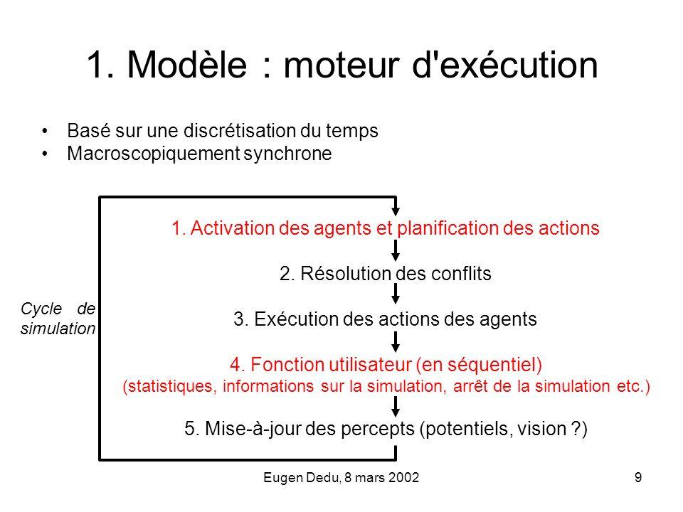 Eugen Dedu, 8 mars 20029 1. Modèle : moteur d'exécution Basé sur une discrétisation du temps Macroscopiquement synchrone Cycle de simulation 1. Activa