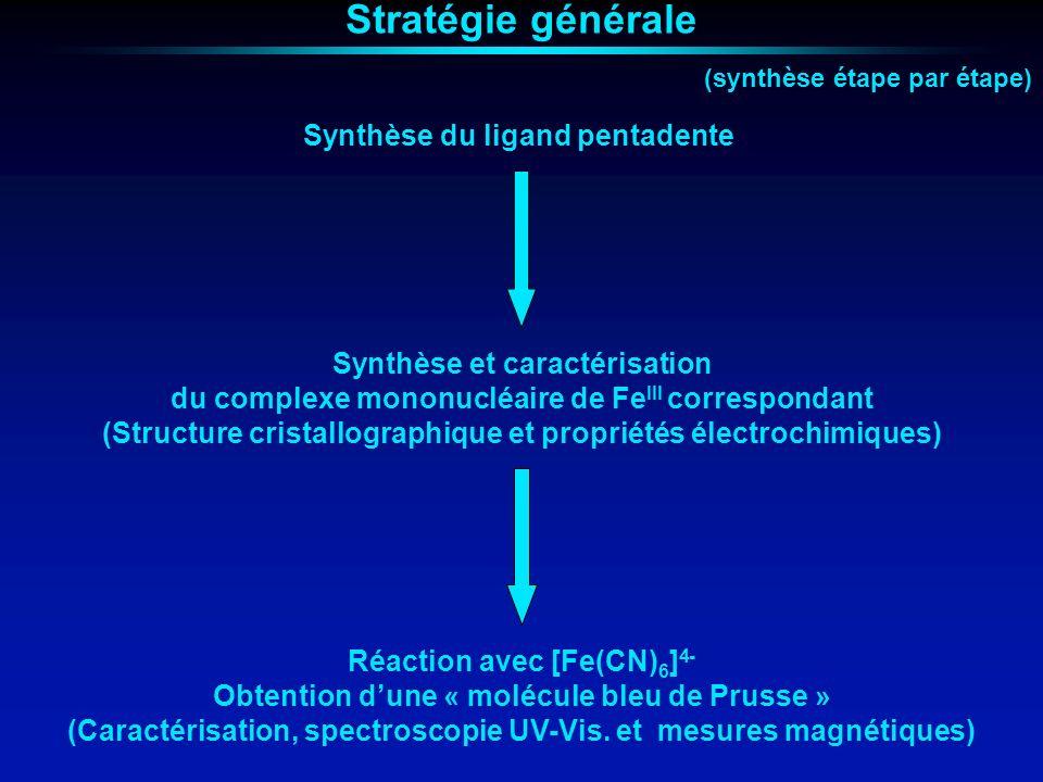 Propriétés magnétiques [Fe(CN(Fe(Salmeten))) 6 ]Cl 2 Interaction ferromagnétique intramoléculaire T = 26,1 cm 3 mol -1 K T > 35 cm 3 mol -1 K Interaction antiferromagnétique intermoléculaire Comportement métamagnétique T N = 220 mK (H C = 300 Oe à 90 mK)