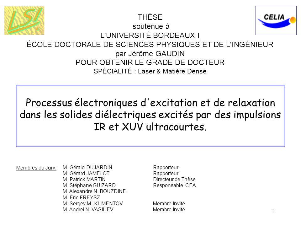 1 Processus électroniques d'excitation et de relaxation dans les solides diélectriques excités par des impulsions IR et XUV ultracourtes. THÈSE souten