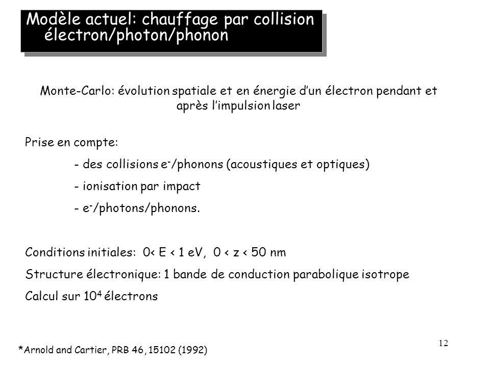 12 Modèle actuel: chauffage par collision électron/photon/phonon *Arnold and Cartier, PRB 46, 15102 (1992) Monte-Carlo: évolution spatiale et en énerg