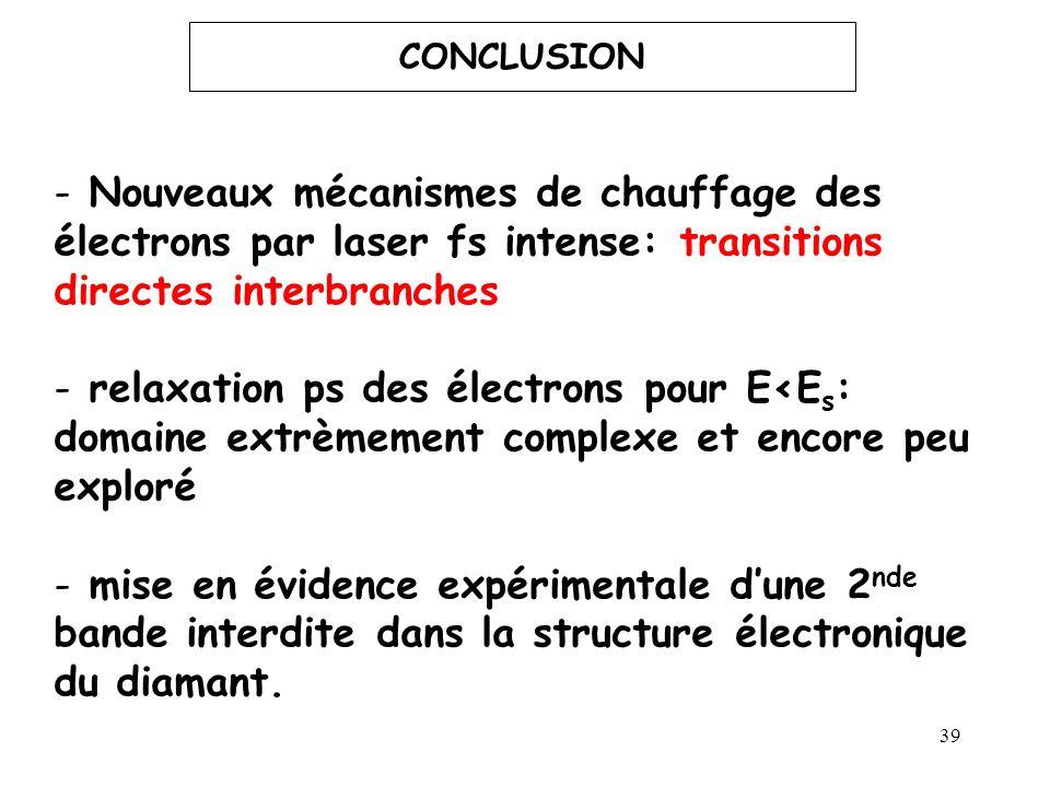 39 CONCLUSION - Nouveaux mécanismes de chauffage des électrons par laser fs intense: transitions directes interbranches - relaxation ps des électrons