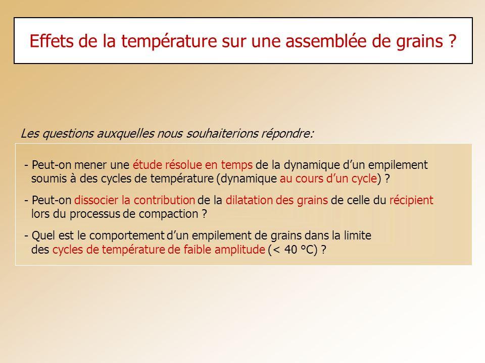 Effets de la température sur une assemblée de grains ? - Peut-on mener une étude résolue en temps de la dynamique dun empilement soumis à des cycles d