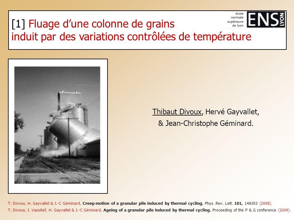 [1] Fluage dune colonne de grains induit par des variations contrôlées de température Thibaut Divoux, Hervé Gayvallet, & Jean-Christophe Géminard. T.
