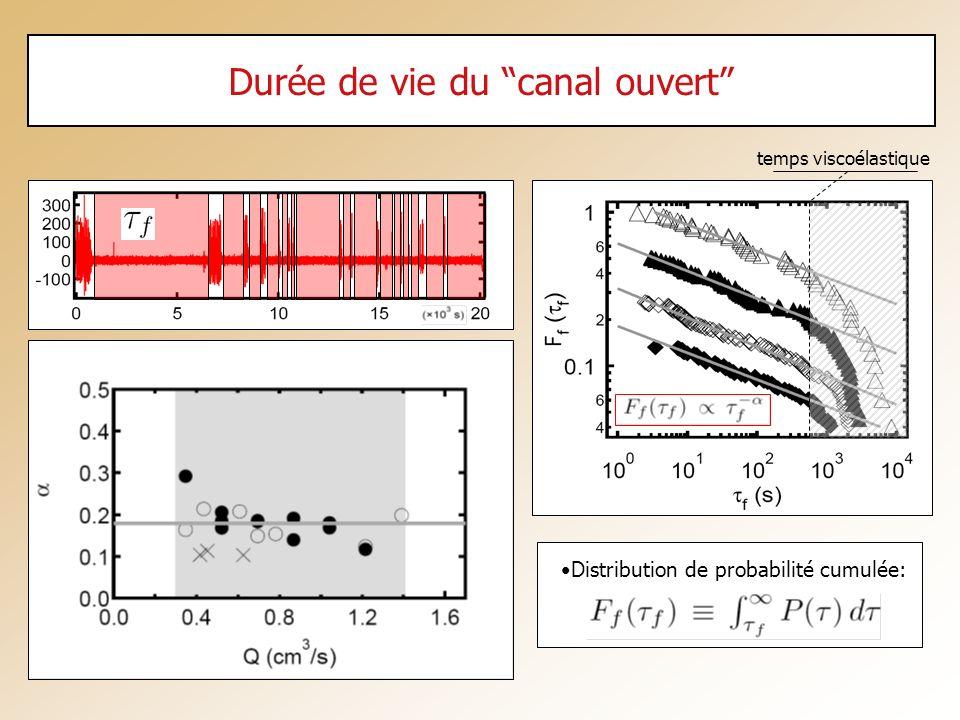 Durée de vie du canal ouvert Distribution de probabilité cumulée: temps viscoélastique