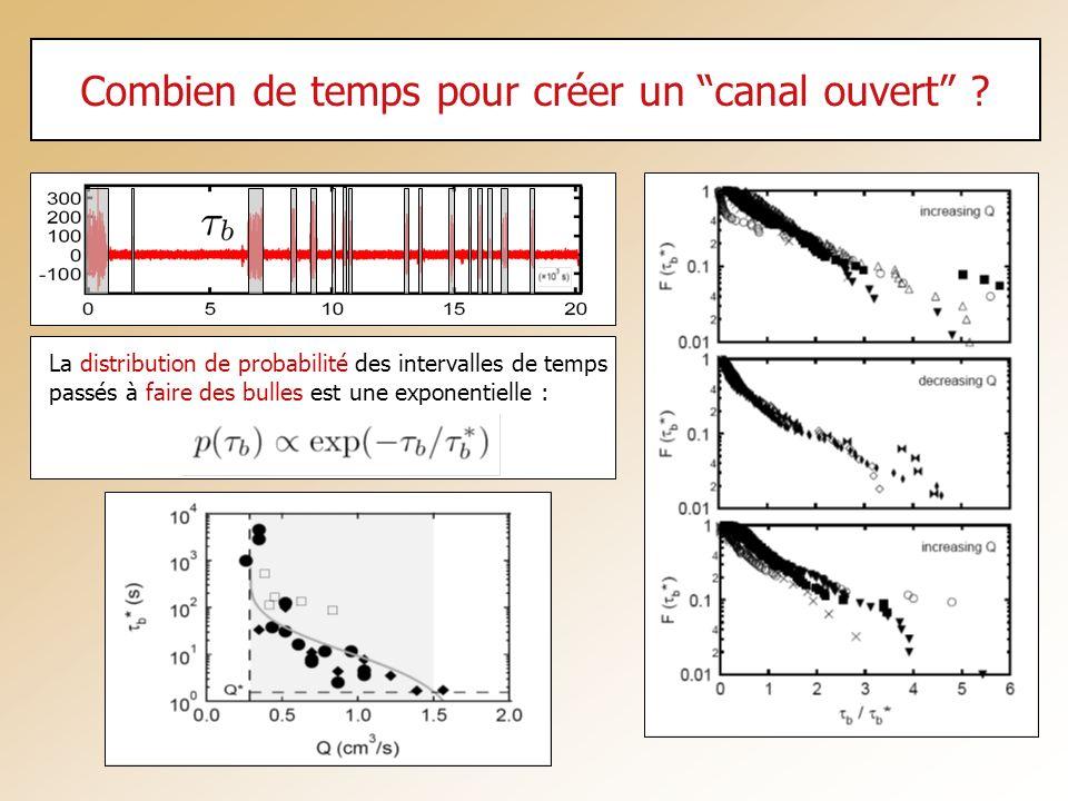 Combien de temps pour créer un canal ouvert ? La distribution de probabilité des intervalles de temps passés à faire des bulles est une exponentielle