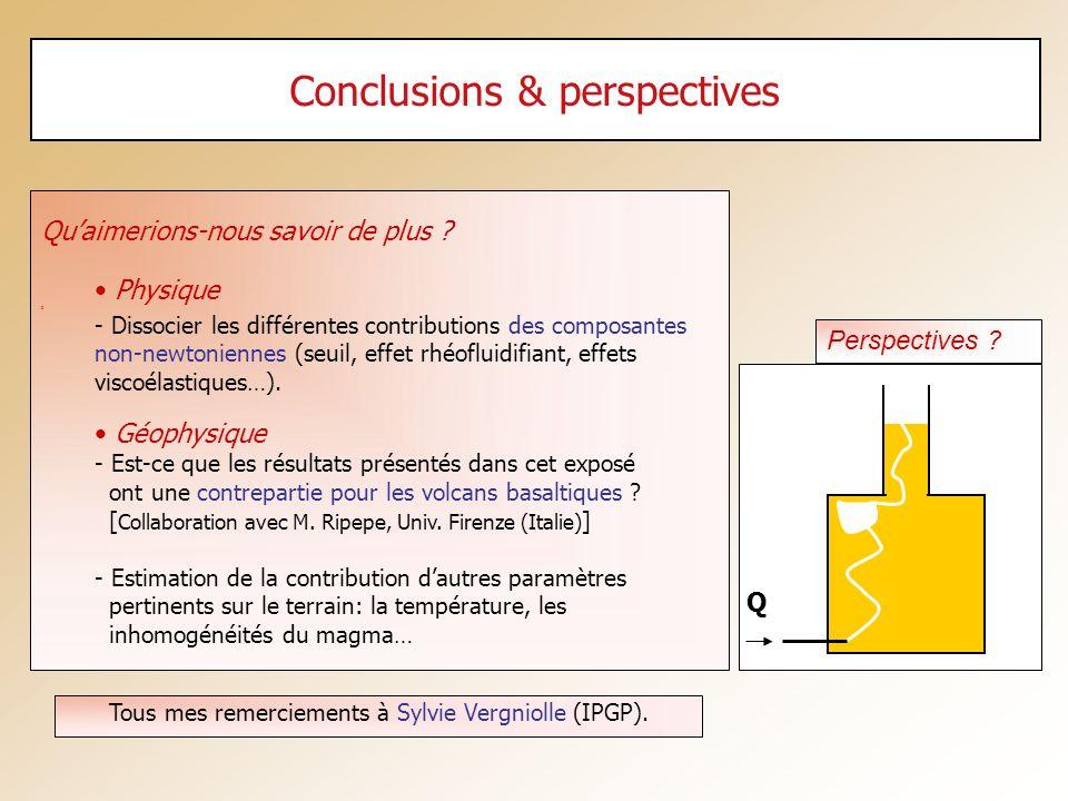 Conclusions & perspectives Quaimerions-nous savoir de plus ? Physique 3 - Dissocier les différentes contributions des composantes non-newtoniennes (se